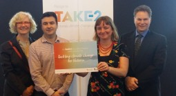 WAGA and member council representatives at the TAKE2 Pledge Action Day, 8 September 2016: (left to right) Fran Macdonald, WAGA Coordinator; Peter McKinnon, Manager Environment and Sustainability at Wyndham City Council and WAGA Chairperson; Sandra Mack, Senior Sustainability Officer at Moonee Valley City Council; and Henry Bezuidenhout, Manager City Planning at Moonee Valley City Council.